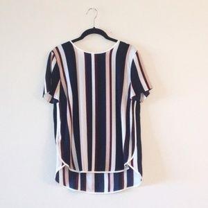 Ann Taylor- Vertical Striped High-Low Blouse
